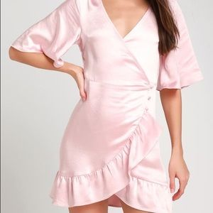 Lulus Pink Satin Mini Wrap Dress